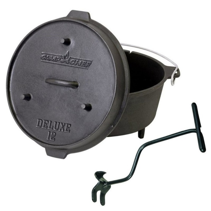 Univerzálny liatinový hrniec Camp Chef Deluxe Dutch Oven 30 cm s pokrievkou a zdvihákom
