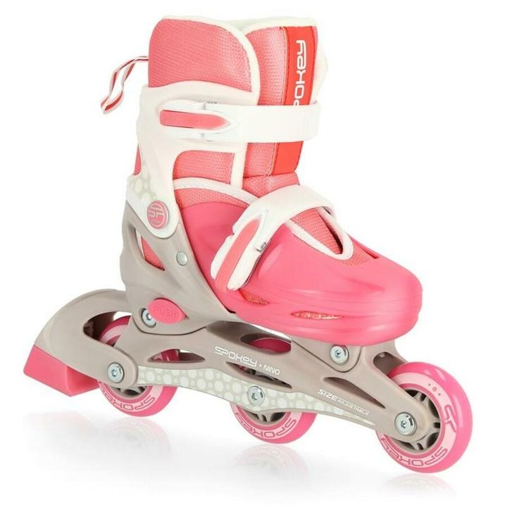 Detské kolieskové korčule Spokey NINO bielo-ružové, ABEC1 Carbon