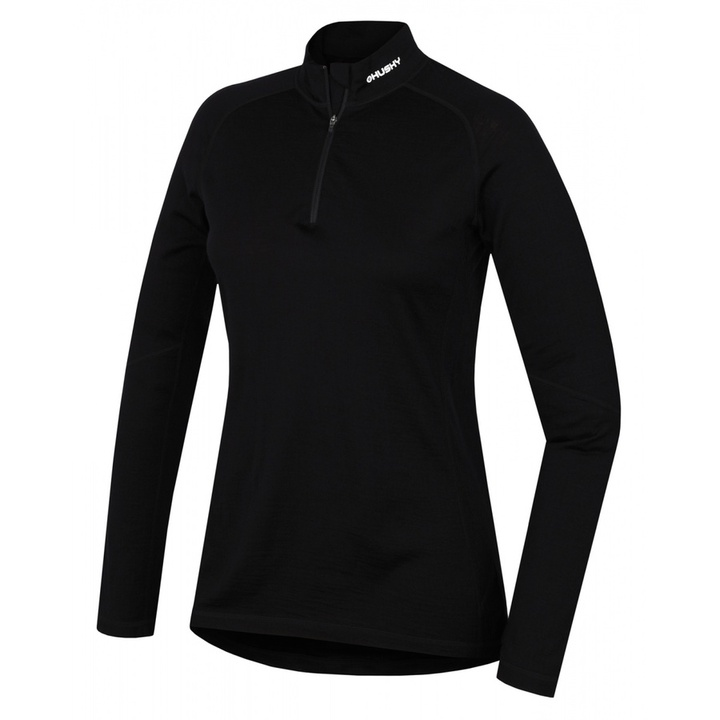 Dámske termo tričko dl. rukáv so zipsom Husky Merino čierna L